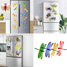 4PCS 3D Dragonfly Shape Fridge Magnet Refrigerator Sticker Set Wall Decor Room Decoration Bedroom Decor Decoracion Hogar Moderno(China)