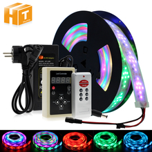 цена на 6803 IC Dream Color RGB LED Strip 5050 30LED/m IP67 Waterproof 5M + 133 Program RF Magic Controller + Adapter