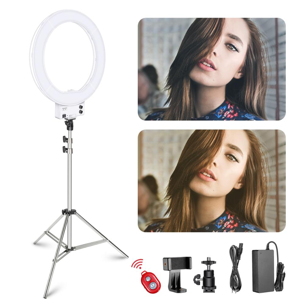 Neewer 18-Inch White Led Ring Light With Silver Light Stand Lighting Kit Dimmabl