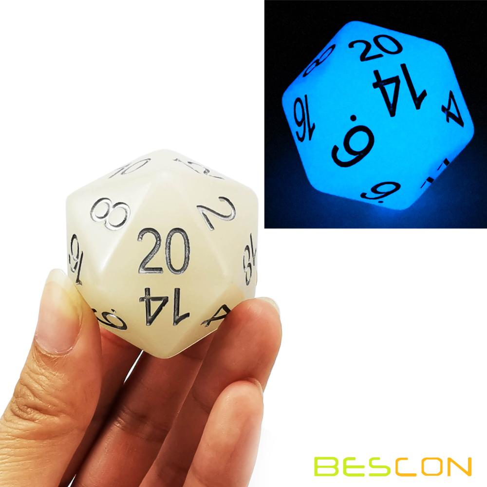 Bescon Jumbo Glowing D20 38MM, Big Size 20 Sides Dice 1.5 inch, Big 20 Faces Cube in Various Solid, Glitter, Glowing Colors 8