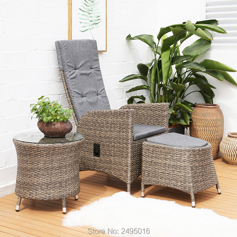 3pcs / Set Patio Porch Furniture Sets 3 Pieces PE Rattan Wicker Chairs With Table Outdoor Garden Furniture Sets  / Ajustable Bac