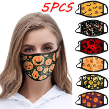 5pc halloween print dustproof à prova de vento anti-cuspindo máscara lavável protetora descartável máscaras de rímel esporte ao ar livre