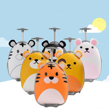 Kids Rolling luggage cartoon Tigers penguins suitcase on wheels children's trolley luggage bag Cute case carry on cabin suitcase(China)