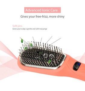 Image 2 - Saç Diva pil işletilen iyonik saç fırçası titreşimli masaj saç çıkma fırçası Mini saç düzleştirici fırça USB