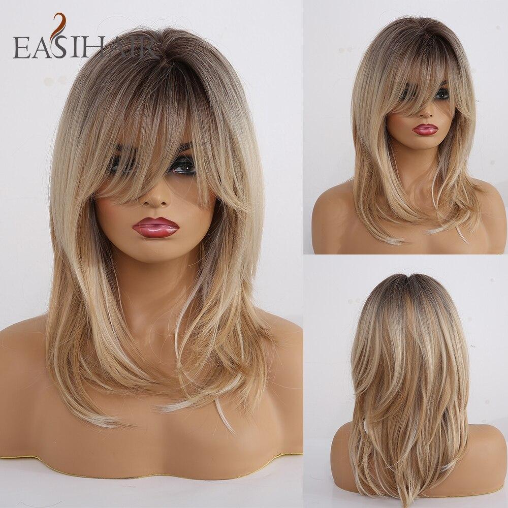 Женские синтетические парики EASIHAIR, термостойкие коричневые и светлые волосы с челкой, многослойные, для косплея, средней длины|Синтетические парики для косплея|   | АлиЭкспресс