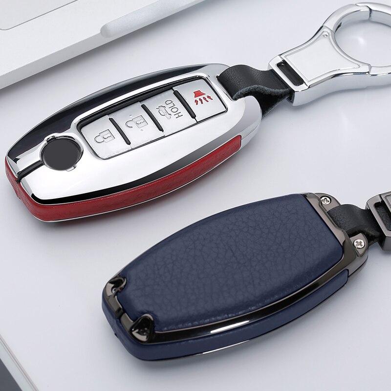 Zinc Alloy Leather Car Key Cover Case For Nissan Qashqai J10J11 X-Trail T31t32 Kicks Tiida Pathfinder Murano Note Juke Infiniti