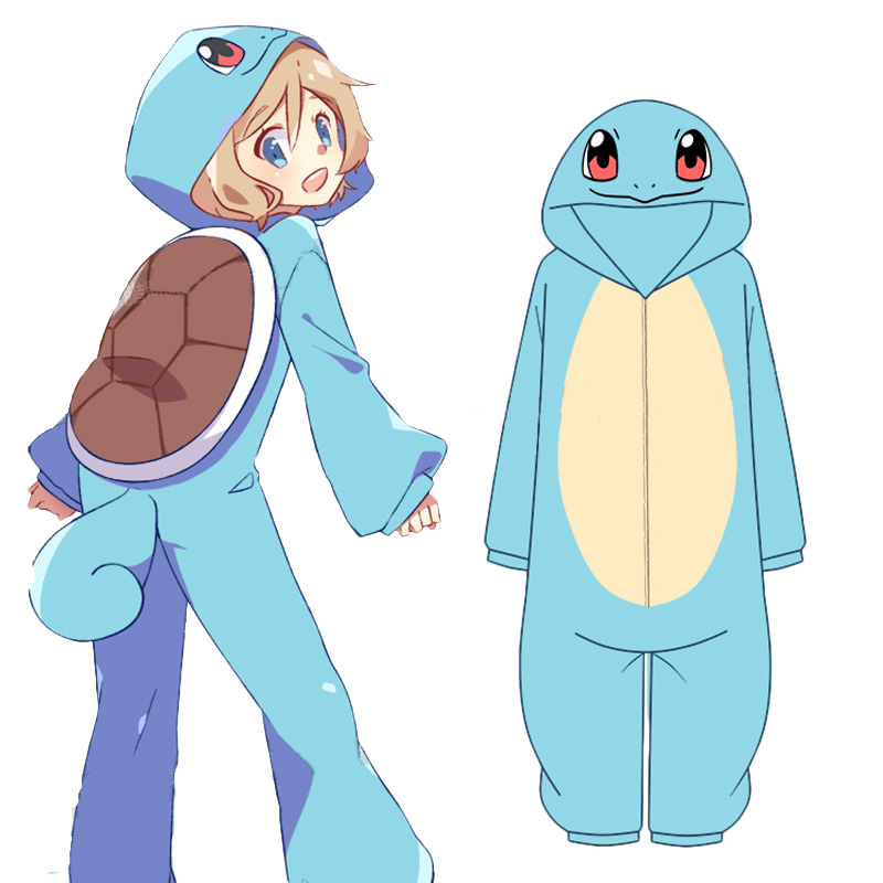 Anime Pokemon Squirtle Cosplay Costumes Blue Pajamas Flannel Winter Warm Sleepwear Onesies Jumpsuit For Adults