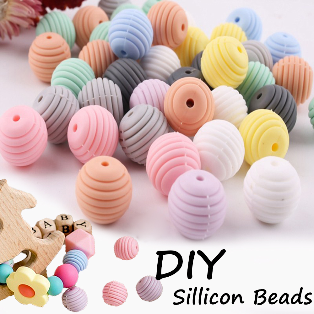 10 pcs silicone beads baby teething round spiral food grade beads 15mm DIY BPA
