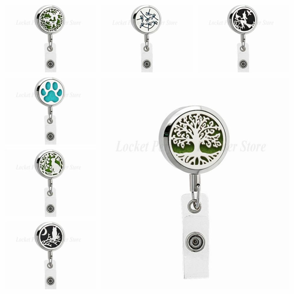 316L Stainless Steel Retractable ID Badge Holder Diffuser With Necklace Keychain