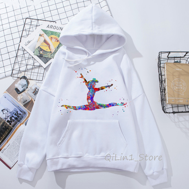 Watercolor Gymnastics Girl Design Harajuku Kawaii Hoodie Hat Sweatshirt 90s Tumblr Clothes Women Sports Gymnast Print Hoodies
