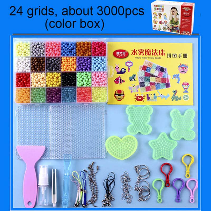 6000pcs 24 Colors Refill Beads Puzzle Crystal DIY Water Spray Beads Set Ball Games 3D Handmade Magic Toys For Children Toy
