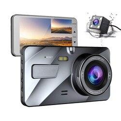 Регистраторы Новый Двойной объектив Видеорегистраторы для автомобилей Камера Full HD 1080 P 4 IPS спереди + сзади синий зеркало Ночное видение вид...