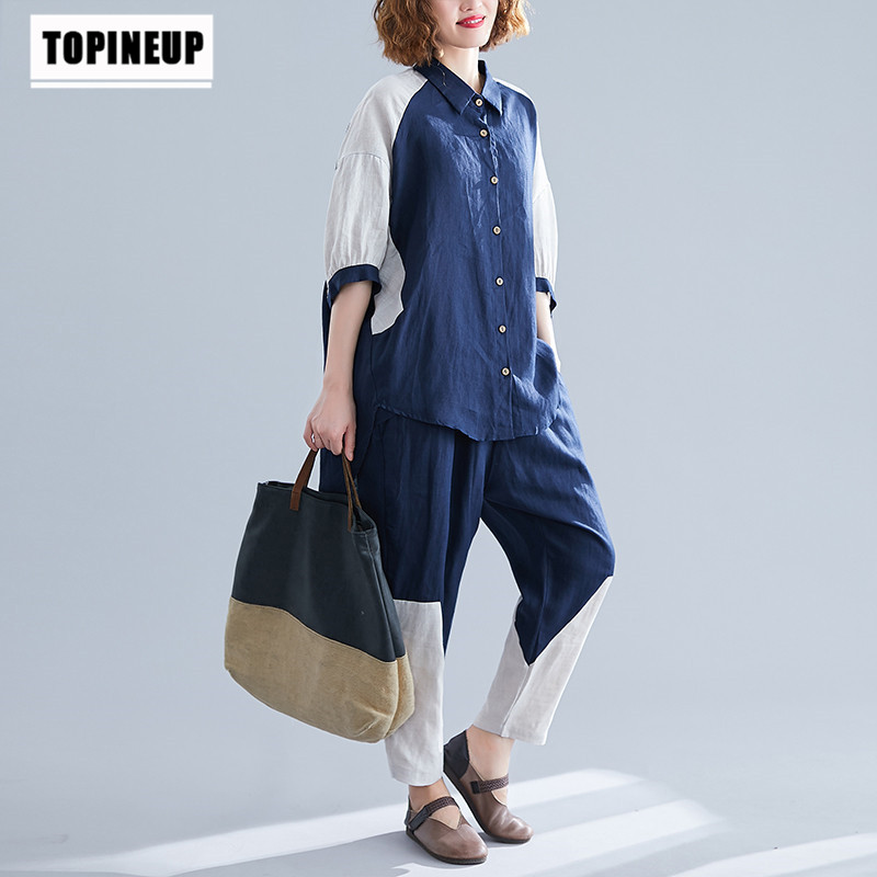 Loose Large Size Leisure Cotton Linen 2 Pieces Set Track Suit Single Breasted Elegant Casual Clothing Contrast Color