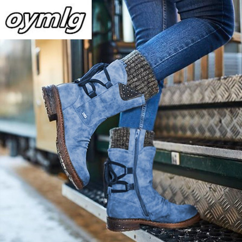 2020 Women Winter Mid Calf Boot Flock Winter Shoes Ladies Fashion Snow Boots Shoes Thigh High Suede Warm Botas Zapatos De Mujer