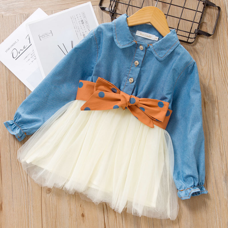 Polka Dot Girls Dress Autumn Girl Party Dresses For Kids Long Sleeve Casual Jean Yarn Princess Dress With Bow Knot Sashes