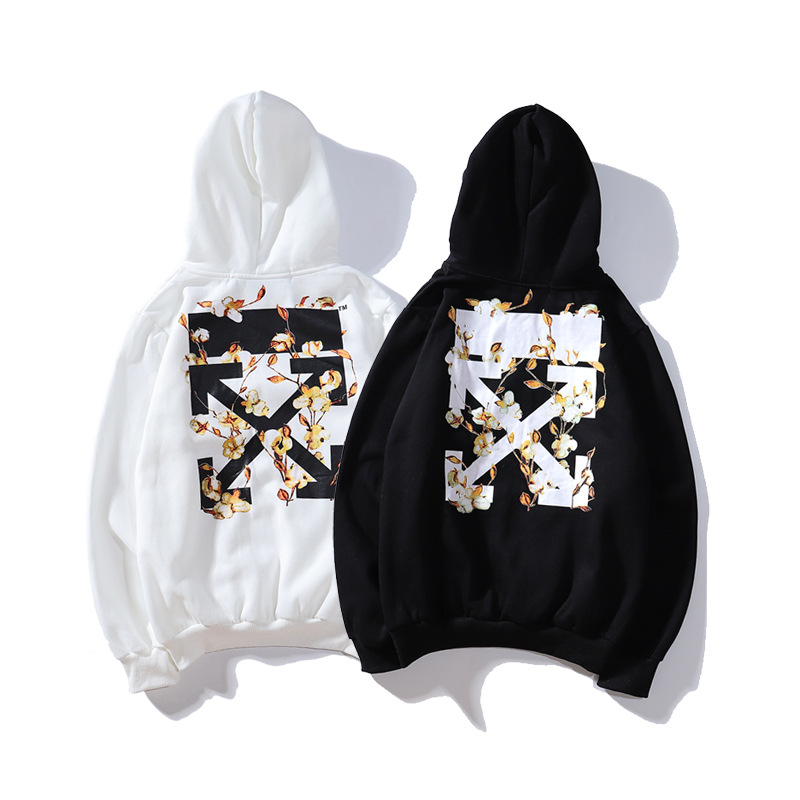 Off White Ow 19ss Kapok Flower Hoodie Hoodie Men And Women Celebrity Style Pullover Popular Brand Coat