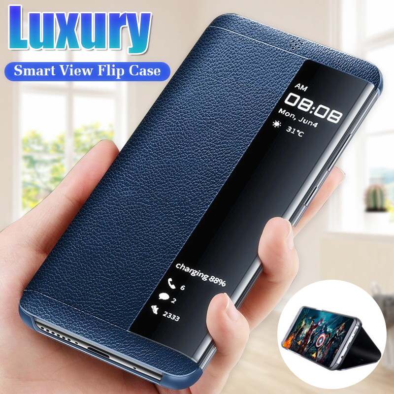 Luxury Leather Flip Case Cover On The For Samsung Galaxy S7Edge S9 S8 S10 Plus Shockproof Case For A7 2018 Smart View Phone Case