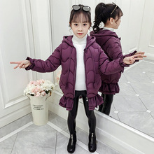 цена на Fashion Princess Winter Jacket Girl Cute Bow Jacket Jacket Long Cotton Down Jacket  Girl Fishtail Coat Snowsuit 3-10 Years