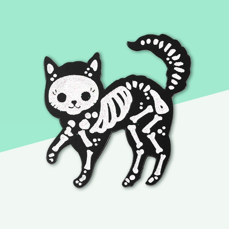 Gothic Horror Enamel Pins! Punk Black Zombie Animal Skeleton Cat Leather Jeans Lapel Brooches Halloween Jewelry Gifts