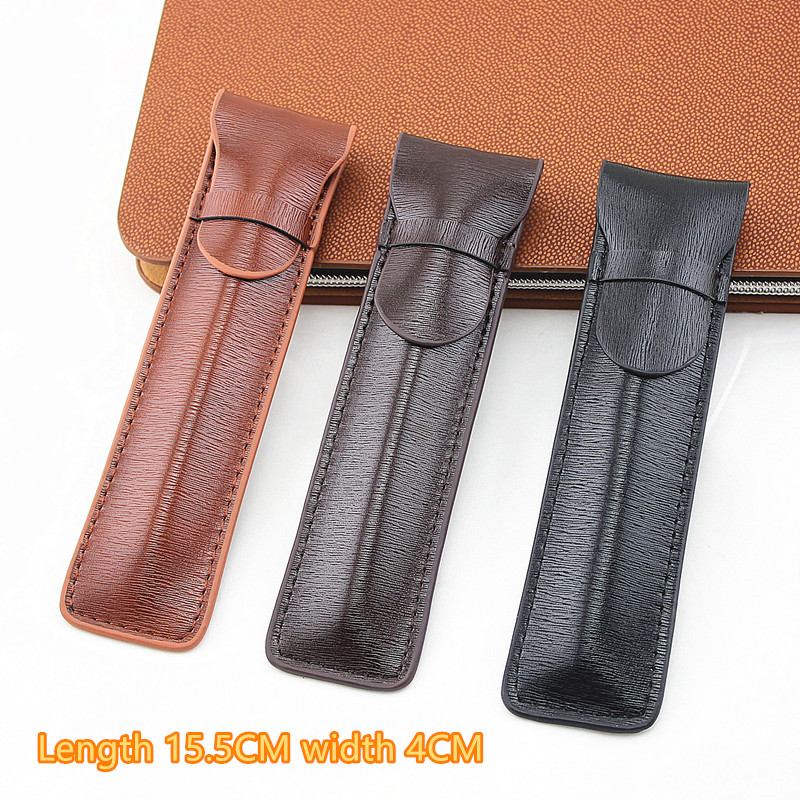 High Quality Leather Pencil Case Fountain Pen Case / Bag For Single Pens - Coffee Pen Holder / Pouch