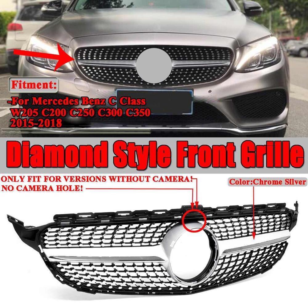 W205 Car Front Grill Grille Diamond Style Mesh For Mercedes For Benz C Class W205 C200 C250 C300 C350 2015-18 Without Camera image