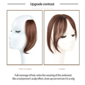 Image 2 - Frangia parte centrale 3D frangia laterale Clip In estensione dei capelli donna Bang capelli sintetici Top anteriore pezzi di capelli MUMUPI