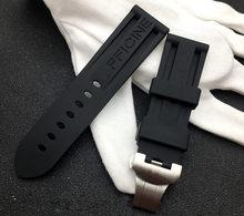 Ремешок для часов, из мягкого силикона и резины, 24 мм, черный