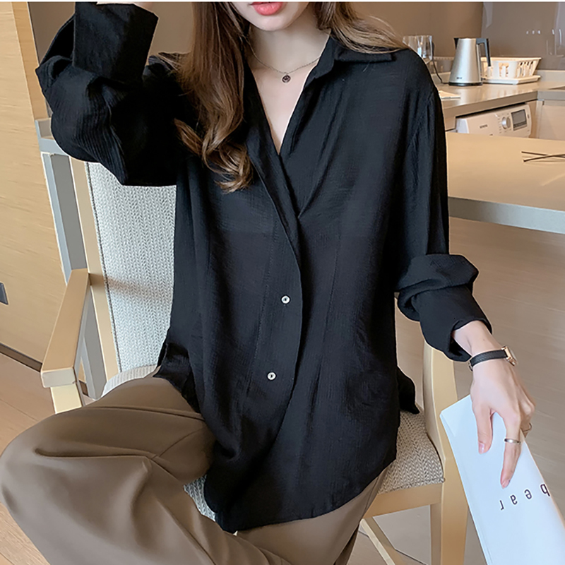 SexeMara 2019 Autumn New Blouse Full Sleeve Turn-down Collar Solid Color Spilt Hem Ladies Fashion Loose Chifforn Shirt CST090