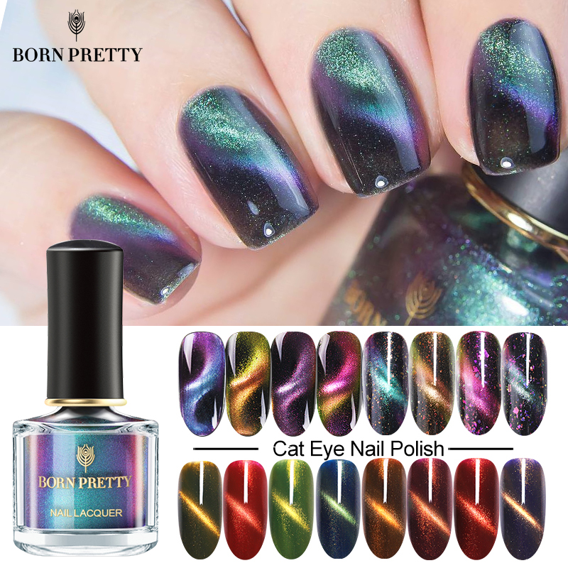BORN PRETTY Magnetic Cat Eye Nail Polish Holographic Chameleon Glitter Sequins Manicure Nail Art Varnish 6ML Black Base Needed