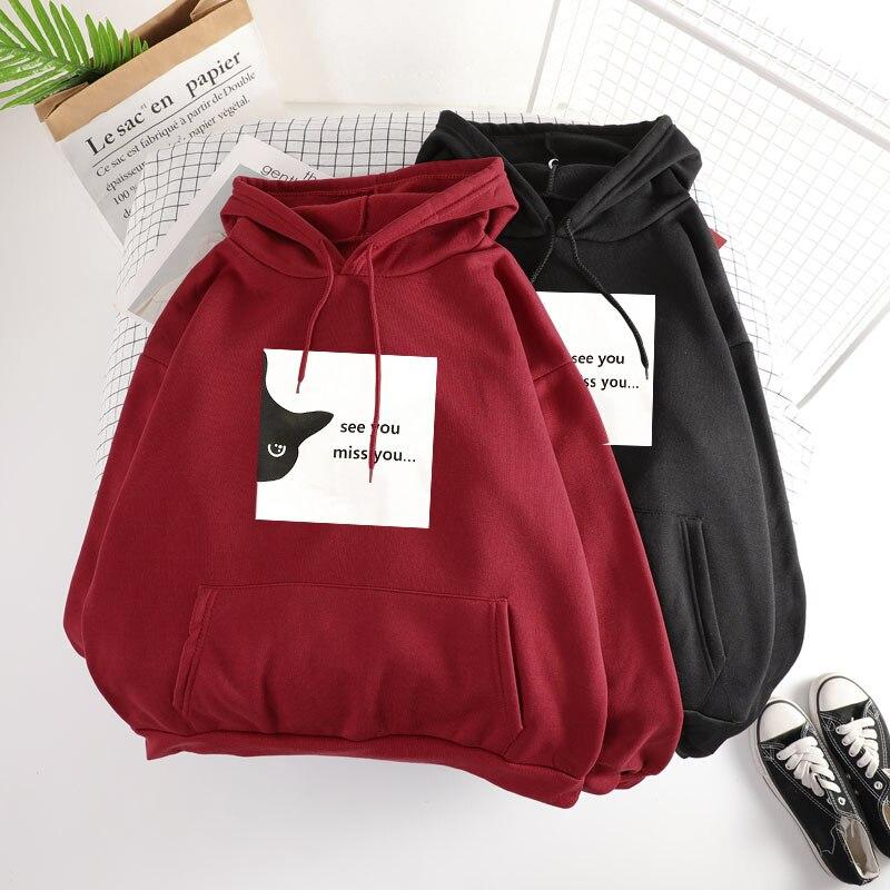 Winter Sweatshirt Women's Hoody Long Sleeve Hoodies Hooded Pullover Tops Blouse With Pocket Print Sweatshirts For Women