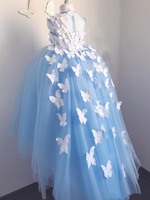 White Butterfly Flower Girl Dress Ball Gown Little Princess Girls Birthday Party Gowns Kids Communion Dresses Fancy Tulle