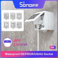 Itead Sonoff S55 wodoodporne inteligentne gniazdo Wifi przełącznik UK/AU/US/FR/DE/ZA wiele wersji Wifi gniazdo działa z Alexa Google Home