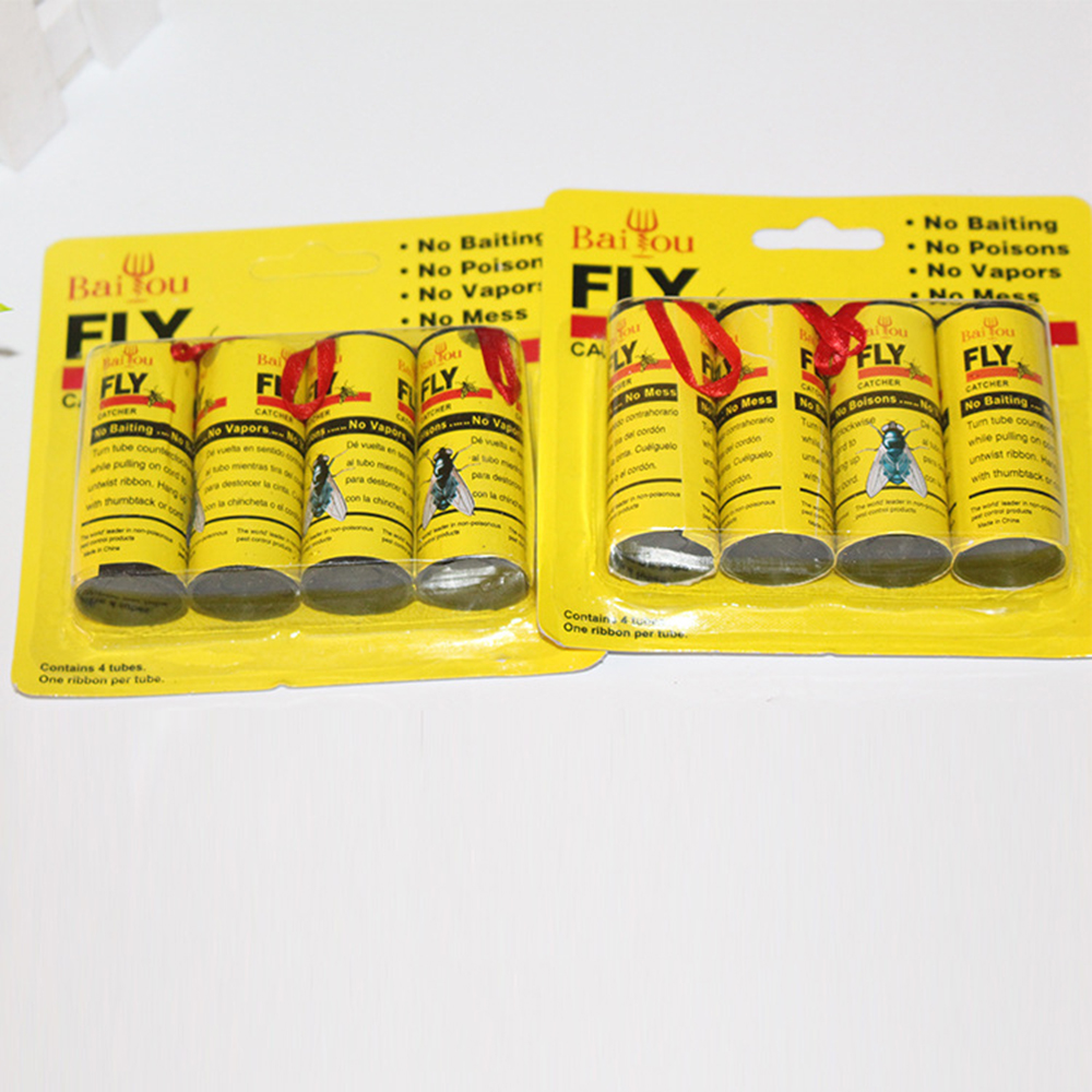 4 Rolls Sticky Fly Paper Eliminate Flies Insect Bug Glue Paper Catcher Trap 4 Cards Sticky Fly Stickers Flying Insects