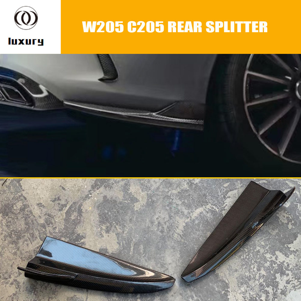Carbon Fiber Rear <font><b>Bumper</b></font> Side Splitter Apron Flaps for <font><b>Benz</b></font> <font><b>W205</b></font> C205 C200 C300 C400 C43 C63 with Amg Package 15 - 22 image