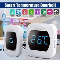 Wireless Waterproof Door Bell Chime 656ft Remote Doorbell with LED Temperature Display 45 Melodies 4 Levels Adjustable Volume|Doorbell| |  -