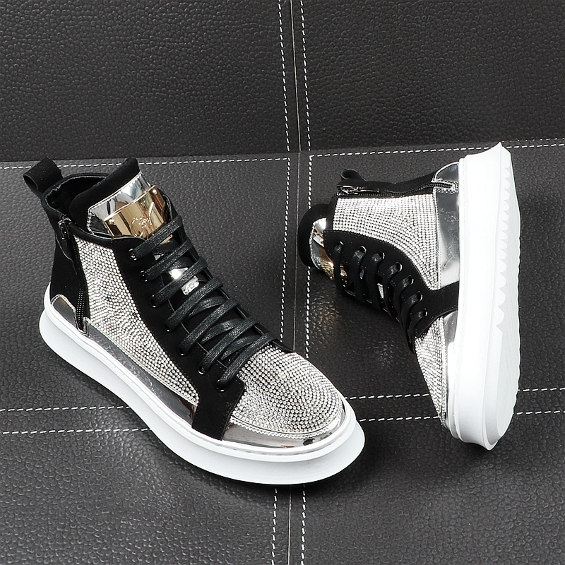 2020 Spring Casual High Shoes Fashion High Top Sneakers Zipper Bling Shoes Men Crystal Boots Luxury Brand Men Sapato Masculino