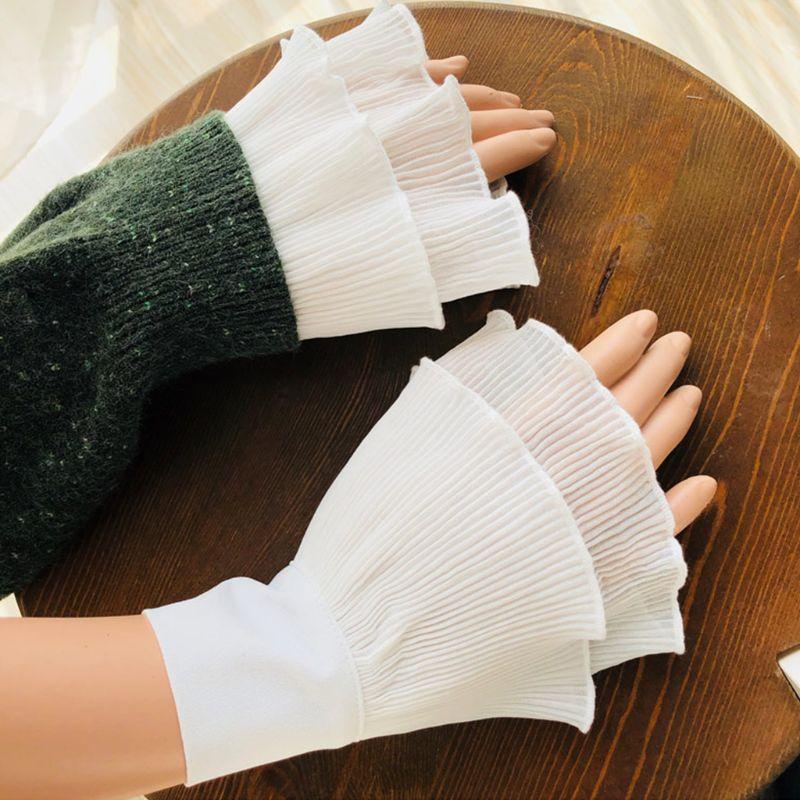 Women Layered Striped Horn Cuff Agaric Ruffles Wrinkled Fake Sleeve Wrist Warmer 449F