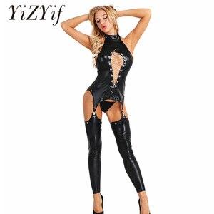 Женский сексуальный комплект нижнего белья из искусственной кожи с высоким воротником и вырезами, стринги-стринги, боди, комбинезон, клубна...