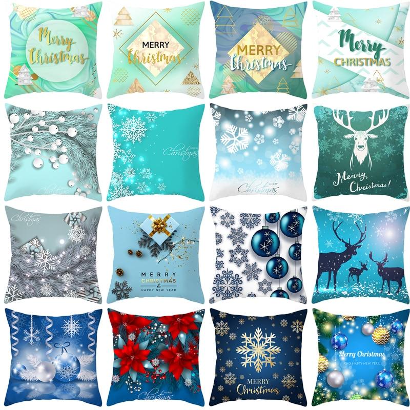 2019 New Christmas Pillowcase 45*45 Peach Skin Plush Digital Printing Snow Pillow Cover Home Decoration Accessories Pillow Case