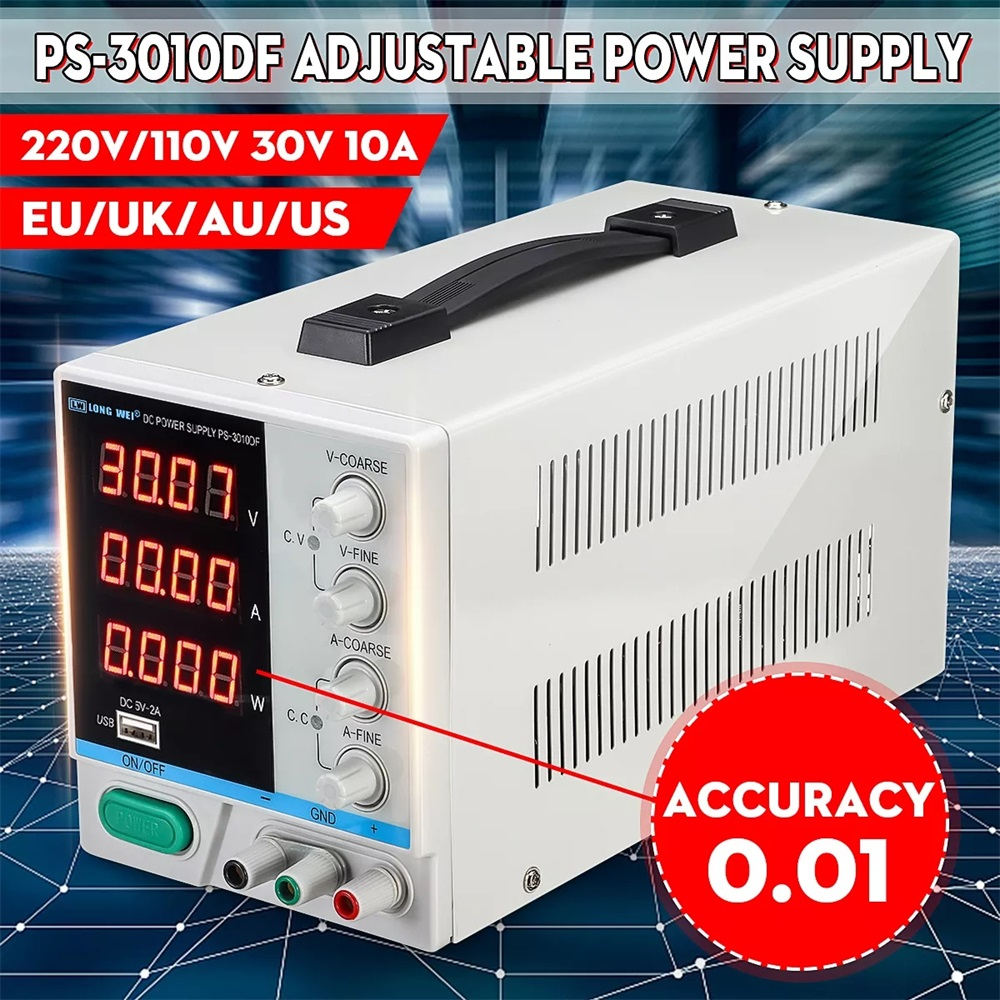 New LONG WEI PS-3010DF Switching Regulated 5V 2A USB Power Supply 110V/220V 30V 10A Adjustable LED Digital Display DC Power Supp