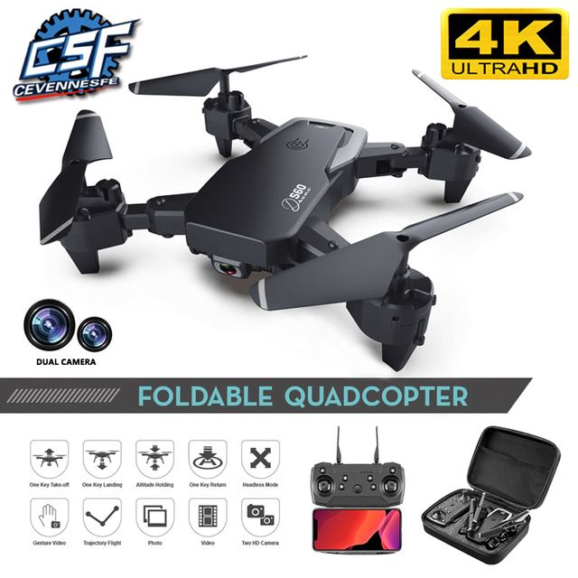 2020 NEW Drone 4k HD Wide Angle Camera 1080P WiFi fpv Drone Dual Camera Quadcopter Height Keep Drone Camera Dron Helicopter Toy