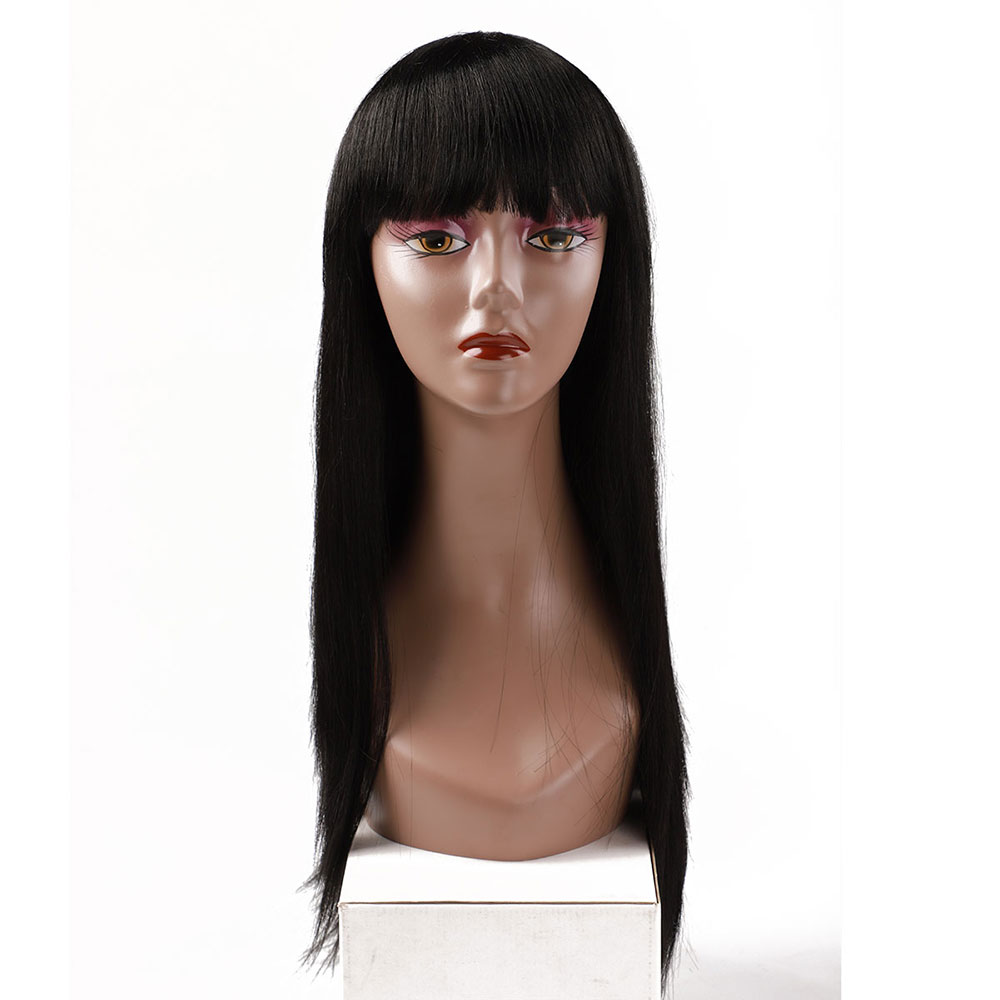 Blice Hair Synthetic Long Straight Wig With Bangs Black Hair Wigs For Women 22Inch Heat Resistant Fiber
