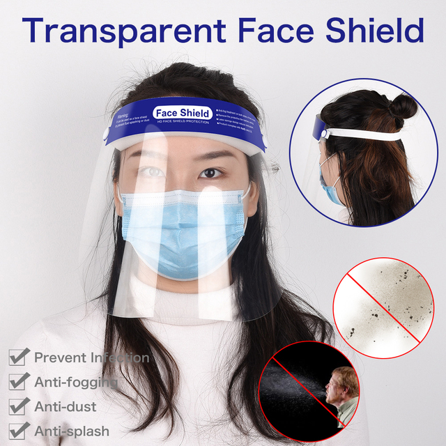 Clear Plastic Face Shield Safety Dental Mask Protection Full-Face Anti Dust Prevent Saliva Mouth Mask Washable Reusable