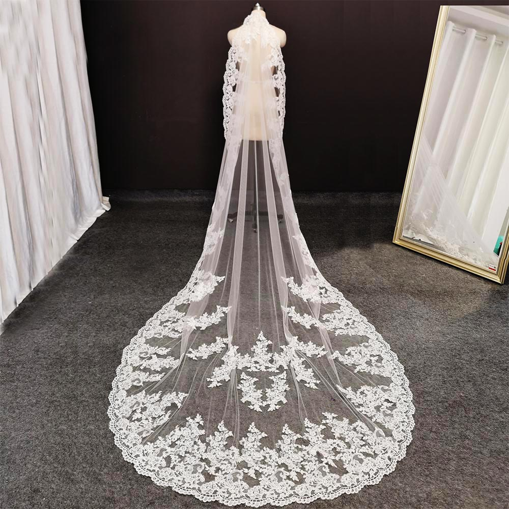 Real Photos Cathedral Wedding Veil with Comb Soft Tulle 3 Meters/ 10ft Long White Ivory Bridal Veil Wedding Accessories