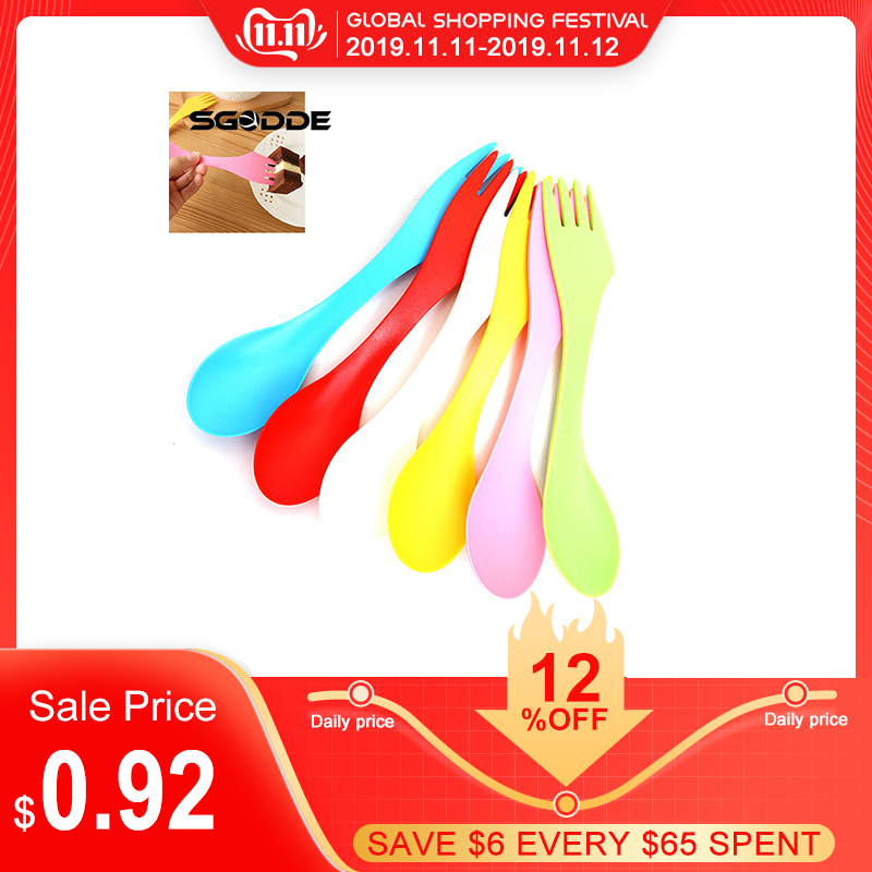 6 color 1PCS Spoon Fork Knife Travel Camping home Hiking Lunchbox Utensils Spork Combo outdoor camping picnic tableware