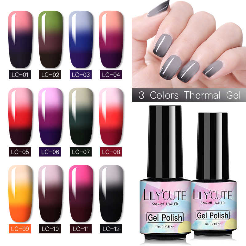 LILYCUTE 7Ml Thermal UV Gel Cat Kuku 3-Lapisan Suhu Warna Berubah Semi Permanen Rendam Off Nail Art gel Varnish
