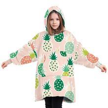 Oversize nadruk ananasy bluza z kapturem koc na sofę dla dorosłych dzieci bluza z kapturem bluza wygodny sweter tanie tanio CN (pochodzenie) Other Szczotkowane 100tc Dzianiny Dekoracyjne Podróży Pościel