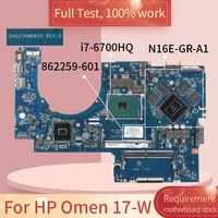 862259 For HP Omen 17 W DAG37AMB8D0 862259 601 SR2FQ I7 6700HQ N16E GR A1 Notebook motherboard Mainboard full test 100% work