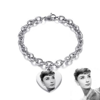 Модный Индивидуальный браслет для мужчин и женщин, браслет из нержавеющей стали с подвеской в виде сердца, регулируемая бижутерия, гравировка, фото имени, браслеты, алиэкспресс на русском