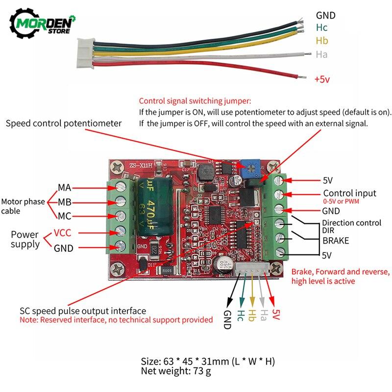 Controlador sem escova trifásico do motor da c.c. 6-60v 400w bldc placa 12v 24v 48v do motorista de controle do motor do salão de pwm